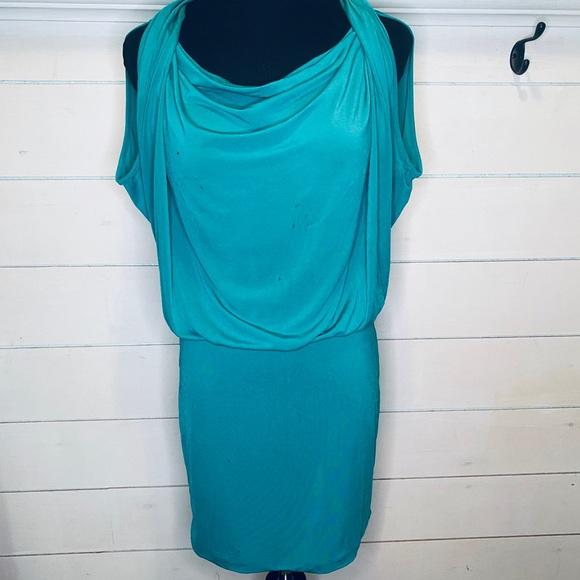 BCBGMaxAzria Dresses & Skirts - Bcbg Maxazria teal scoop neck dress